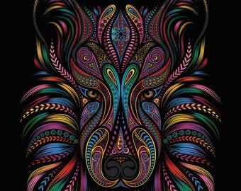 zentangle wolf  head mandala counted cross stitch pattern