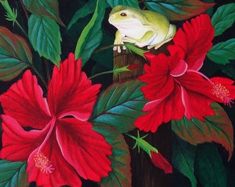 Green tree frog on hibiscus flower counted cross stitch pattern pdf
