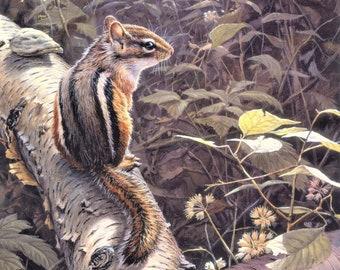 Fallen birch chipmunk in forest woods wildlife  counted cross stitch pattern