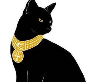 Black Cat Egyptian gold counted cross stitch pattern