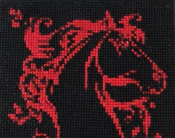 Horse head with flowing mane counted cross stitch pattern