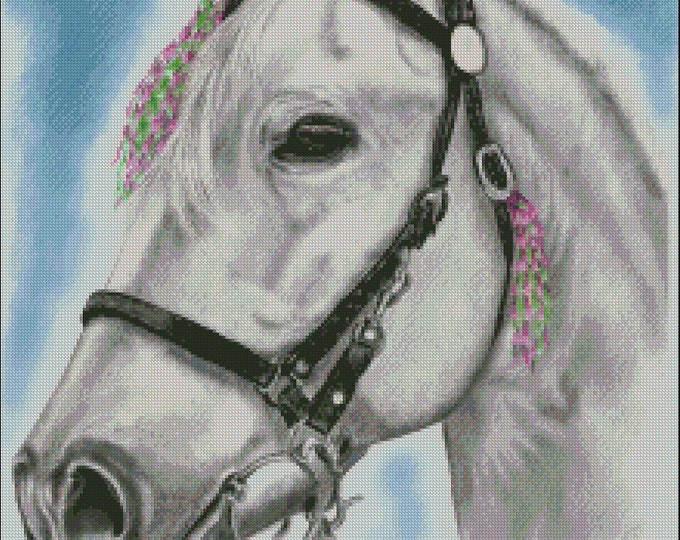 Featured listing image: Andalusian dressage horse counted cross stitch pattern PDF download