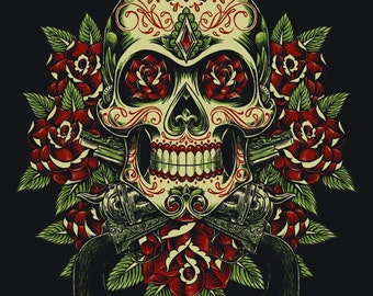 Skull with roses counted cross stitch pattern