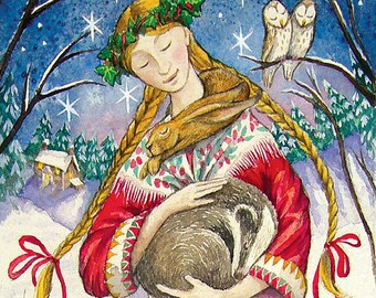 woodland guardian - Maiden, a counted cross stitch pattern with deer fox rabbit owl cat