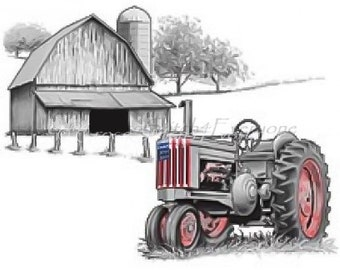 American flag patriotic farm tractor counted cross stitch pattern