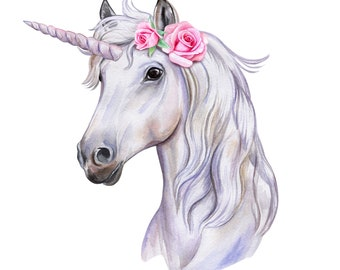 Unicorn with roses fantasy mythical creature horse counted cross stitch pattern PDF