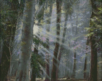 Forest with sunbeams scenery  counted cross stitch pattern