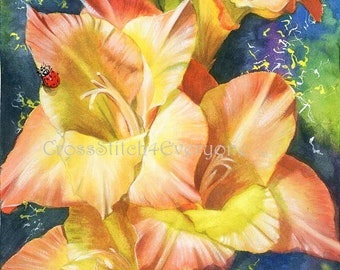 Flowers ladybug digital counted cross stitch pattern pdf