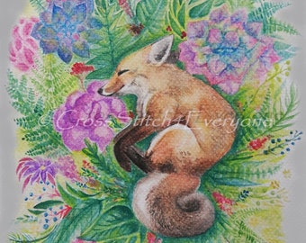 A Red Fox watercolor flowers wildlife animal counted cross stitch pattern PDF