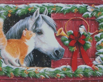 horse stable cat christmas winter holiday counted cross stitch pattern