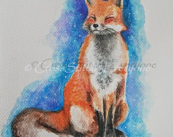 Red Fox watercolor wildlife animal counted cross stitch pattern PDF