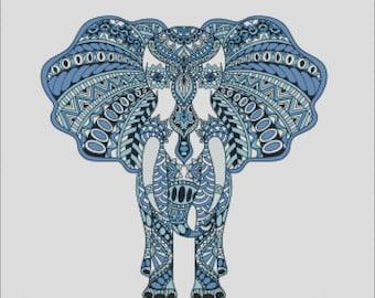 Colorful bright mandala elephant blue counted cross stitch pattern