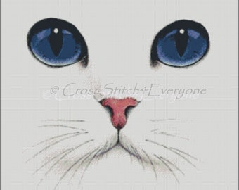 White cat with blue eyes counted cross stitch pattern PDF