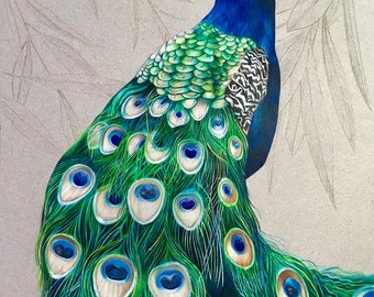 Peacock counted cross stitch pattern