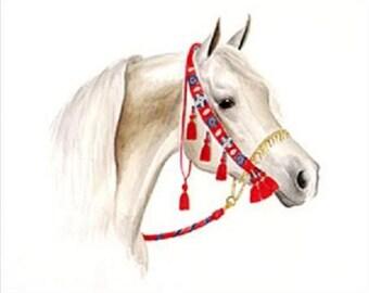 Arabian horse grey flea bitten arab counted cross stitch pattern PDF