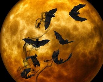 Bats Halloween full moon counted cross stitch pattern