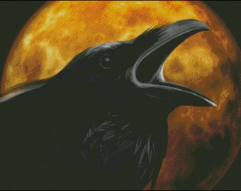 A Raven and full moon Halloween  counted cross stitch pattern