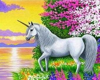 Beautiful Unicorn  Fantasy   horse mythical counted cross stitch pattern PDF