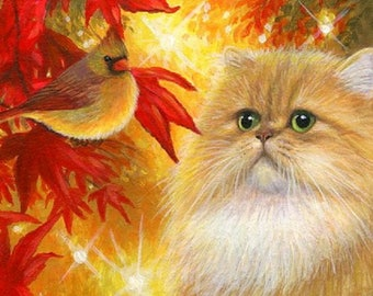 Persian cat red cardinal bird autumn colored leaves counted cross stitch pattern PDF