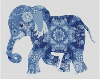 Colorful Mandala elephant blue baby counted cross stitch pattern