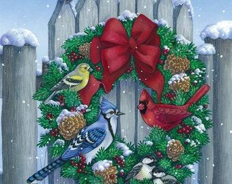 wooden picket fence birds wreath cardinal finch wren bluejay sparrow counted cross stitch pattern