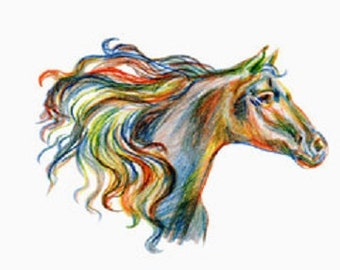 Horse head in watercolors counted cross stitch pattern PDF download