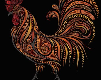 Zentangle Rooster chicken farm roo bright colors counted cross stitch pattern