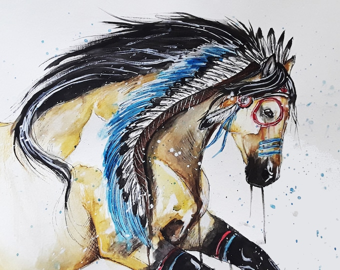 Featured listing image: Native American Indian horse  war pony counted cross stitch pattern