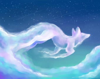 Fox foxes clouds sky wildlife counted cross stitch pattern PDF