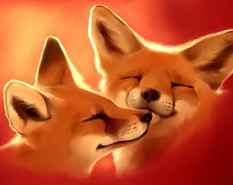 Red Fox foxes hearts love wildlife counted cross stitch pattern PDF
