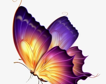 Purple and Gold butterfly counted cross stitch pattern