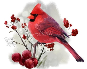 Cardinal Bird with red winter berries counted cross stitch pattern PDF
