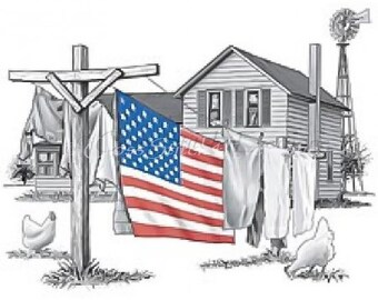 American flag patriotic clothesline  country farmhouse counted cross stitch pattern
