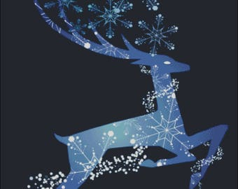 Reindeer winter snowflakes blue counted cross stitch pattern PDF