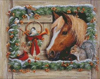 horse stable squirrel christmas winter counted cross stitch pattern