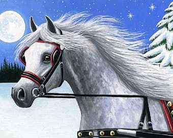 Dapple grey arabian horse sleigh bells  counted cross stitch pattern PDF