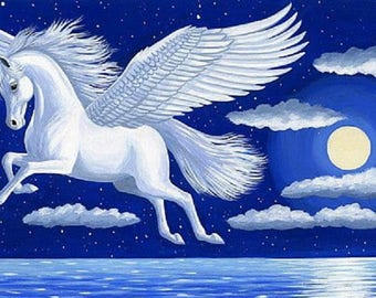 Beautiful Pegasus Flying  horse Fantasy mythical counted cross stitch pattern PDF