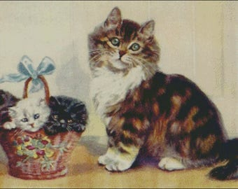 Cat with Kittens in a woven basket  kitty vintage image counted cross stitch pattern
