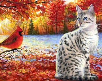 Bengal cat red cardinal bird autumn colored leaves counted cross stitch pattern PDF
