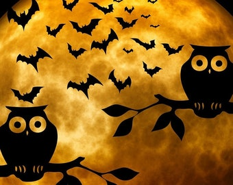 Full moon with owls and bats Halloween counted cross stitch pattern
