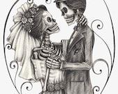 Skeleton bride groom counted cross stitch pattern PDF download