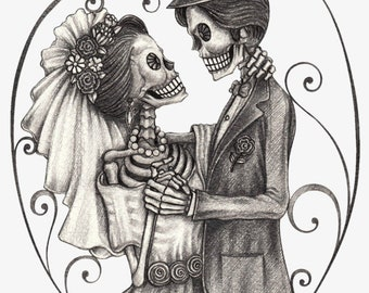 Skeleton bride groom counted cross stitch pattern PDF download