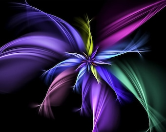 Fractal art flower purples greens blues counted cross stitch pattern