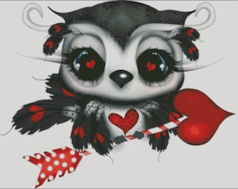 Owl valentine love hearts arrow feathers counted cross stitch pattern PDF