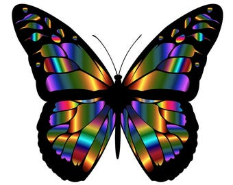 Butterfly iridescent vivid bright colors counted cross stitch pattern
