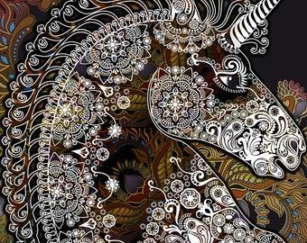 Mandala Unicorn fantasy colorful counted cross stitch pattern