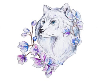 Wolf with flowers  counted cross stitch pattern