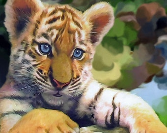 Bengal tiger cub wildcat counted cross stitch pattern PDF download