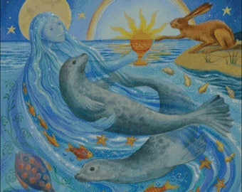 Summer Solstice animals seasons sea creatures dolphin fish hare rabbit counted cross stitch pattern