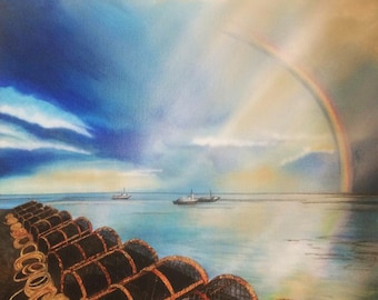 Lobster traps crab trap on the harbor a rainbow  counted cross stitch pattern